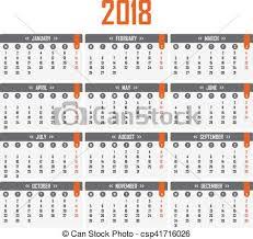 Calendario 2018 Feriados Portugal Ilustración Vectorial De Semana Comienzos Calendario 2018