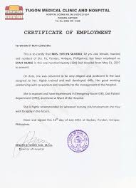 Certification Letter Sle For Employment Certification Of Employment Letter For Caregiver 28 Images Iso