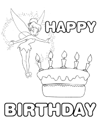 tinkerbell birthday cake coloring page h u0026 m coloring pages