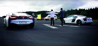 bmw supercar blue bmw i8 drag races audi r8 and it does not end well for the