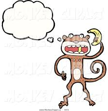 clip art of a thinking monkey holding a banana by lineartestpilot
