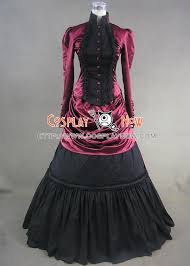 Ball Gown Halloween Costumes Victorian Satin French Bustle Formal Ball Gown Reenactment