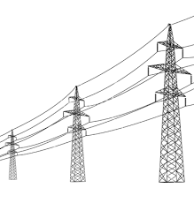 drawn power line pylon pencil and in color drawn power line pylon