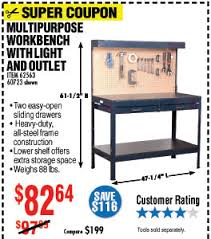 Workbench With Light Harbor Freight Save Up To 77 With Super Coupons Milled