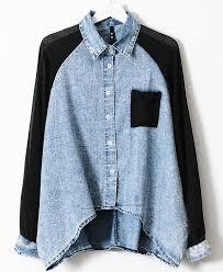 denim blouses blue contrast black chiffon batwing sleeve denim blouse abaday com