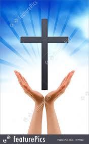 religious symbols holding a cross stock illustration