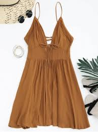 sun dress plunge low back lace up sundress light brown summer dresses s zaful