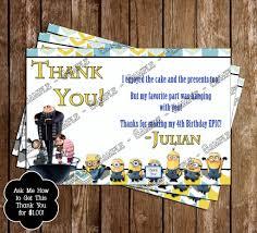 Minions Invitation Card Novel Concept Designs Despicable Me Birthday Thank You Card