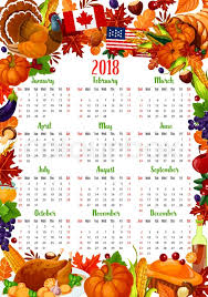 calendar template with thanksgiving day frame autumn