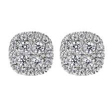 cluster stud earrings cushion shaped 1 2cttw diamond cluster stud earrings mullen jewelers