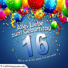 geburtstagsspr che zum 16 geburtstagskarte mit bunten ballons konfetti und luftschlangen zum