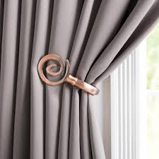 Curtain Holdbacks Home Depot by Lavish Home Spiral Holdback Pair In Copper 63 19541a C The Home