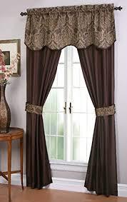 Chocolate Curtains With Valance Amazon Com Goodgram 5 Piece Window Set 54 X 84 Inches Chocolate