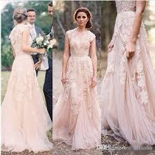 blush wedding dress with sleeves 2017 blush vintage lace wedding dresses plunging v neck