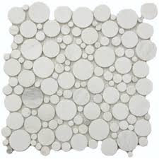 Marble Mosaic Tile White Flat Pebble Marble Mosaic Circle Tile Mesh Backed Sheet