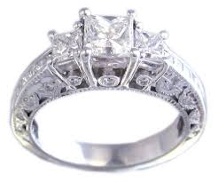 princess cut engagement rings white gold 14k white gold princess cut engagement ring antique style