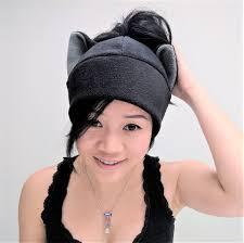 black cat ear ponytail hat messy bun toque beanie feline kitty