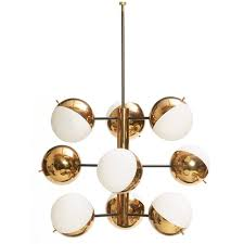 Stilnovo Chandelier 843 Stilnovo Hanging Light Fixture Made In Italy Nine Light