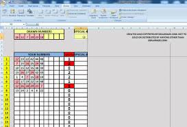 Free Microsoft Excel Spreadsheet Download Easy Lottery Number Ticket Checker Lotto Pick 6 For Microsoft
