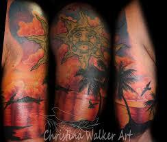 lucky bamboo tattoos nature water sunset half sleeve