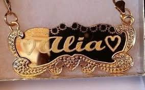 name plated necklace 18 k gold plated name plate necklace personalized custom handmade