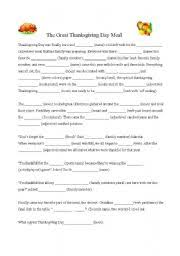 worksheets thanksgiving day meal madlib