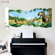 popular diy wall decal buy cheap lots from china oujing happy home cartoon dinosaur world vinyl wall stickers for kids rooms boy living room diy