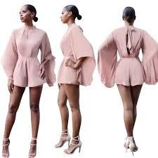 pink jumpsuit womens jumpsuit romper batwing sleeve backless pant