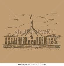 parliament house canberra act australia vector stock vector