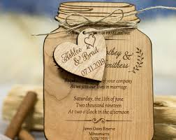 wooden wedding invitations jar wedding etsy
