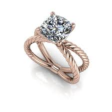 gold engagement rings cushion cut 14 kt gold split shank twist shank engagement ring cushion