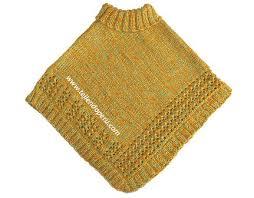ponchos a palillo poncho de 2 cuadrados para niñas tejiendo perú