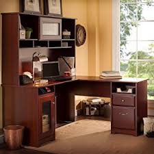 Bush Desks With Hutch Cabot L Shaped Desk With Hutch In Harvest Cherry