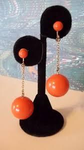 1960 s earrings mod 60 s orange dangling drop earrings by mamiezvintage