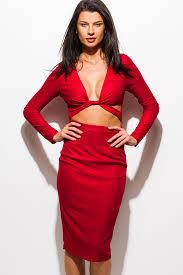 shop burgundy red metallic deep v neck long sleeve cut out bodycon
