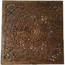 elegant wood carved foral wall plaque unique asian home decor