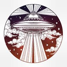 alien spaceship ufo background with flying saucer icon