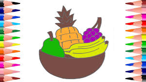 learn fruits while painting fruits in coloring pages for kids