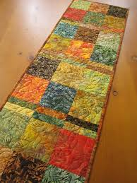 batik fall quilted table runner patchwork mountain