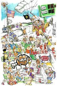 cartoon crowd scenes