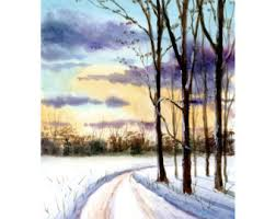 watercolor landscape painting print country road fall trees 4