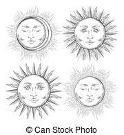 eps vectors of antique style hand drawn art sun and crescent moon