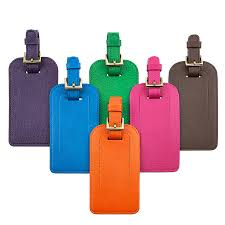 graphic image luggage tag brights leather