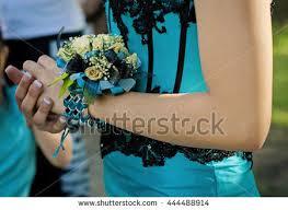 Turquoise Corsage Pretty Turquoise Black Wrist Corsage Worn Stock Photo 444488914