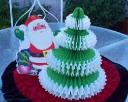 Christmas Crepe Paper Decorations by Vintage Accordion Bell Crepe Paper Decorations C1950s From