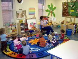 kids study room in colorful preschool classroom layout design