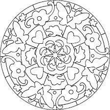 coloriage d u0027un mandala indien rosace papillons coeurs tête à