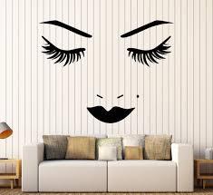 vinyl wall decal face lips eyelash beauty salon makeup stickers