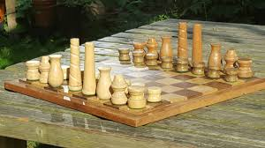 Wooden Chess Set Handmade Recycled Wooden Chess Set Chair Legs By
