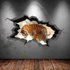 3d Bedroom Wall Paintings 3d Tiger Wall Decal Wild Animals Cracked Full Colour Wall Art